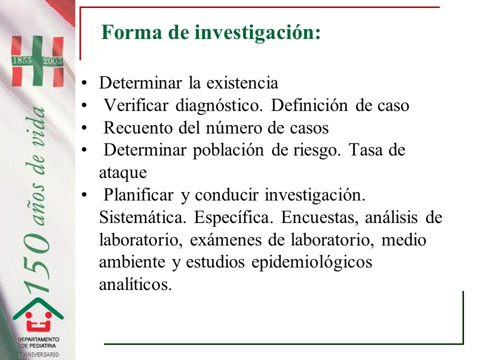 25 ANIVERSARIO Forma de investigación: Determinar la existencia Verificar diagnóstico.