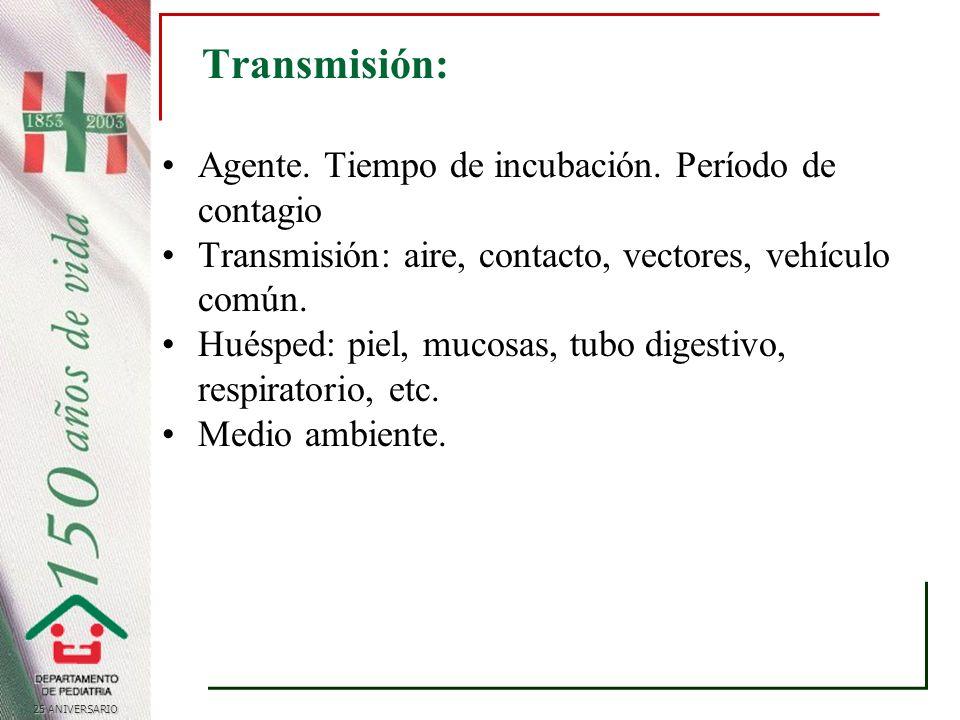 25 ANIVERSARIO Transmisión: Agente.Tiempo de incubación.