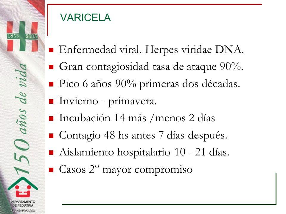 25 ANIVERSARIO Varicela Patogénesis Transmisión vía respiratoria Replicación nasofaringea y ganglio regional.