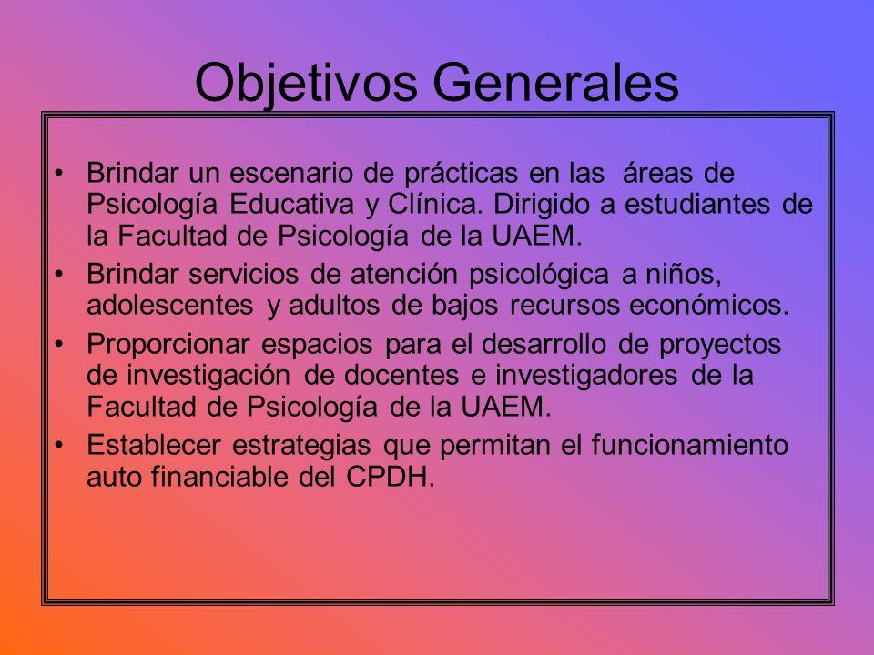 Objetivos Generales Brindar un escenario de prácticas en las áreas de Psicología Educativa y Clínica. Dirigido a estudiantes de la Facultad de Psicolo