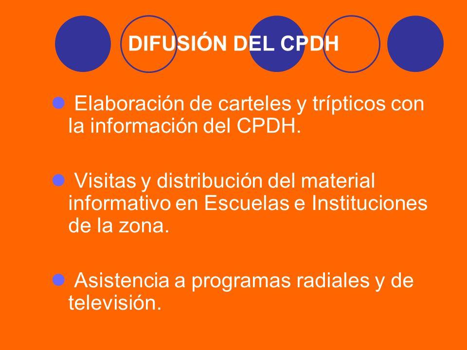 DIFUSIÓN DEL CPDH Elaboración de carteles y trípticos con la información del CPDH. Visitas y distribución del material informativo en Escuelas e Insti