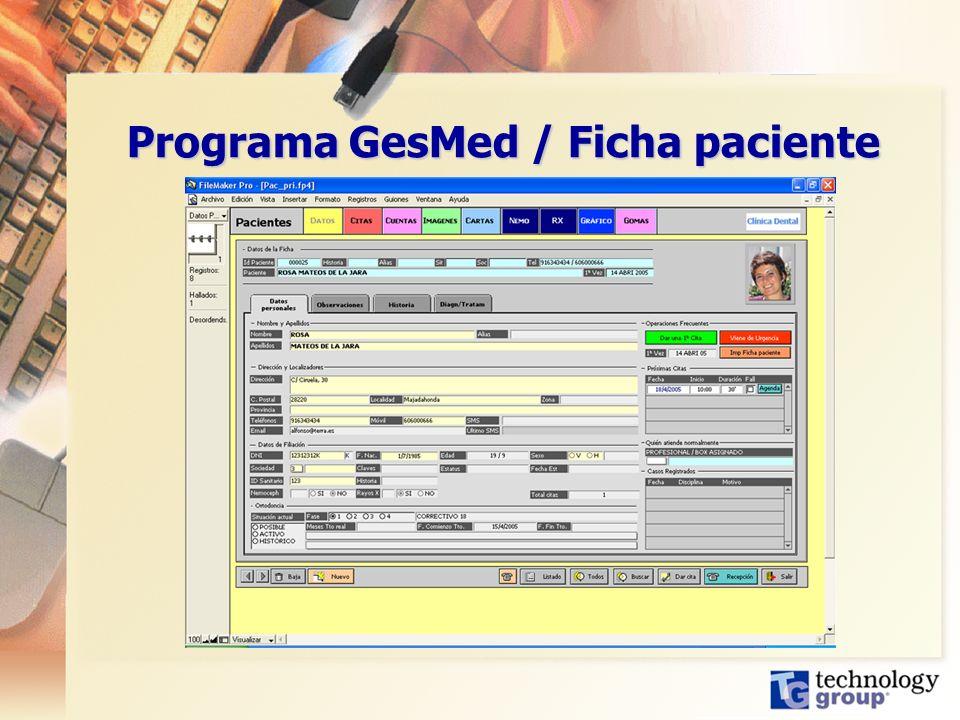 Programa GesMed / Ficha paciente