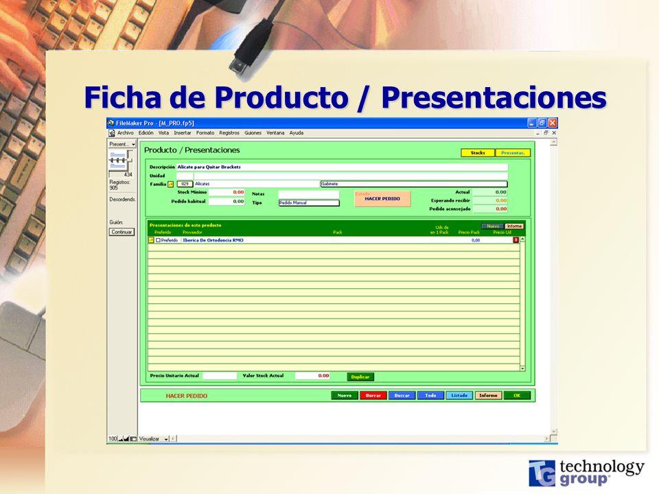 Ficha de Producto / Presentaciones