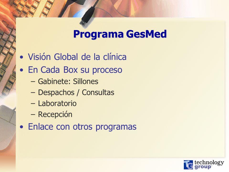 Programa GesMed Visión Global de la clínica En Cada Box su proceso –Gabinete: Sillones –Despachos / Consultas –Laboratorio –Recepción Enlace con otros