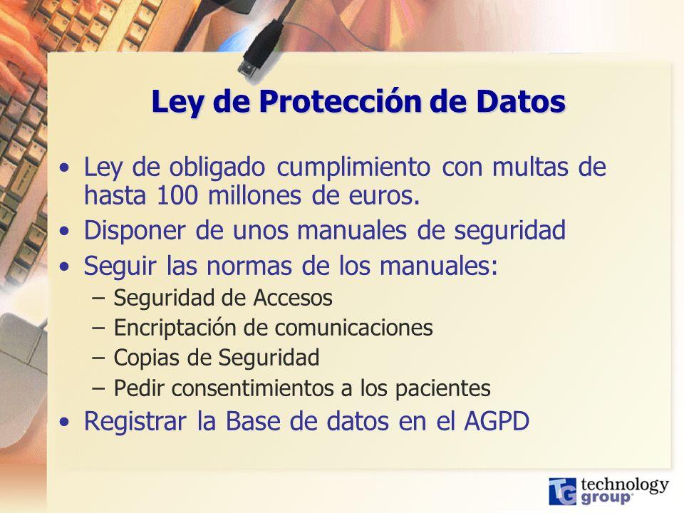 Ley de Protección de Datos Ley de obligado cumplimiento con multas de hasta 100 millones de euros. Disponer de unos manuales de seguridad Seguir las n