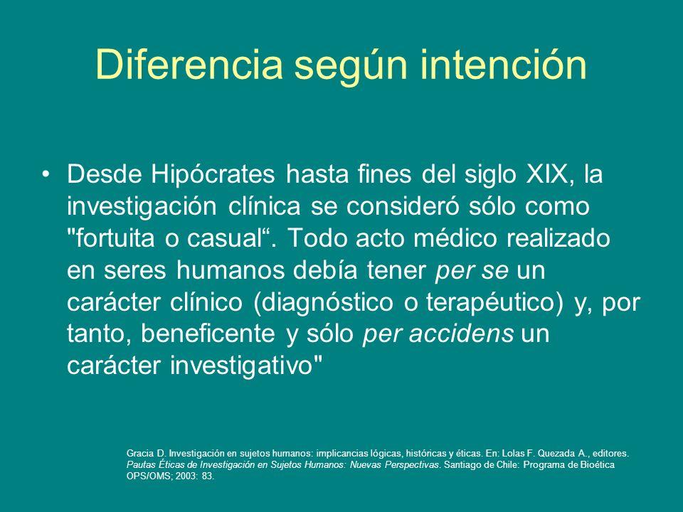 Diferencia según intención Desde Hipócrates hasta fines del siglo XIX, la investigación clínica se consideró sólo como