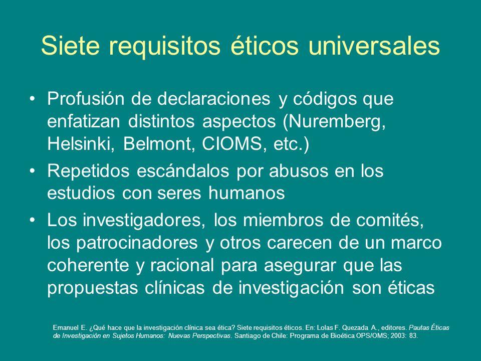 Siete requisitos éticos universales Profusión de declaraciones y códigos que enfatizan distintos aspectos (Nuremberg, Helsinki, Belmont, CIOMS, etc.)