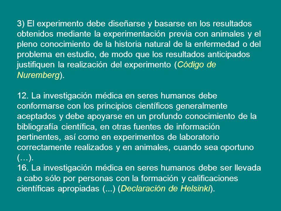 3) El experimento debe diseñarse y basarse en los resultados obtenidos mediante la experimentación previa con animales y el pleno conocimiento de la h
