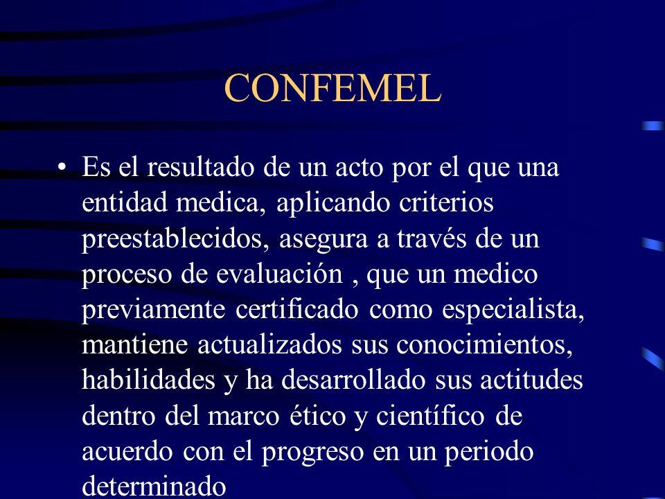 CONFEMEL Es el resultado de un acto por el que una entidad medica, aplicando criterios preestablecidos, asegura a través de un proceso de evaluación,