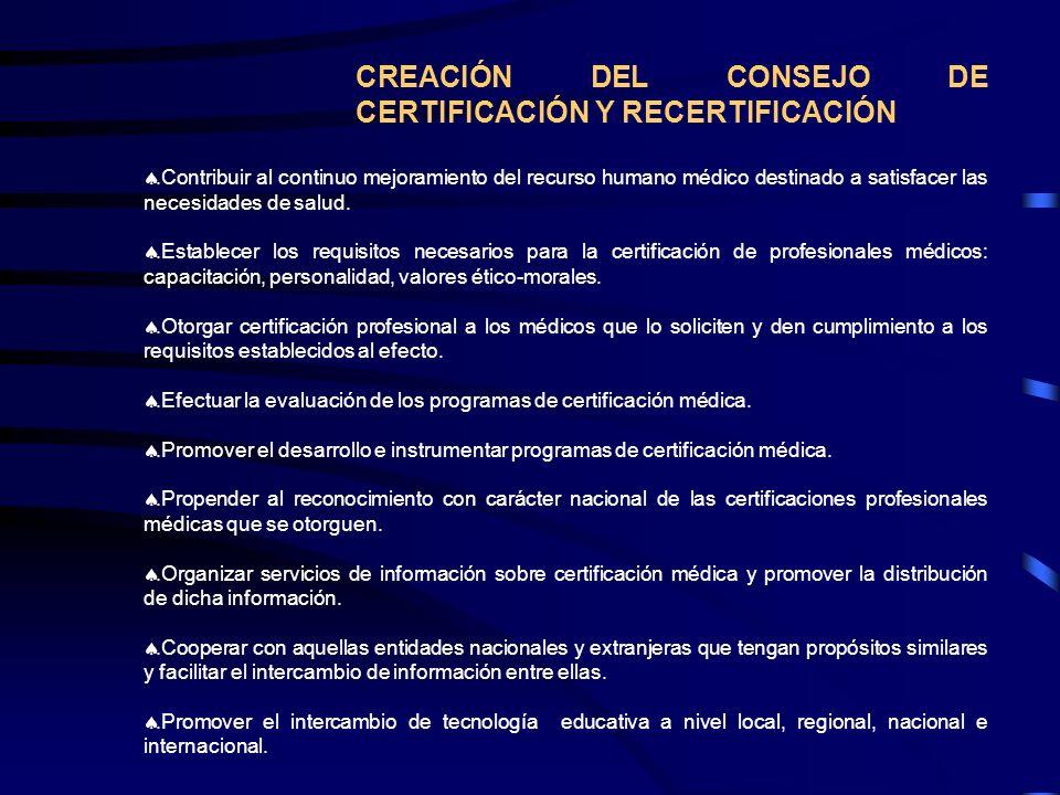 CREACIÓN DEL CONSEJO DE CERTIFICACIÓN Y RECERTIFICACIÓN.Contribuir al continuo mejoramiento del recurso humano médico destinado a satisfacer las neces