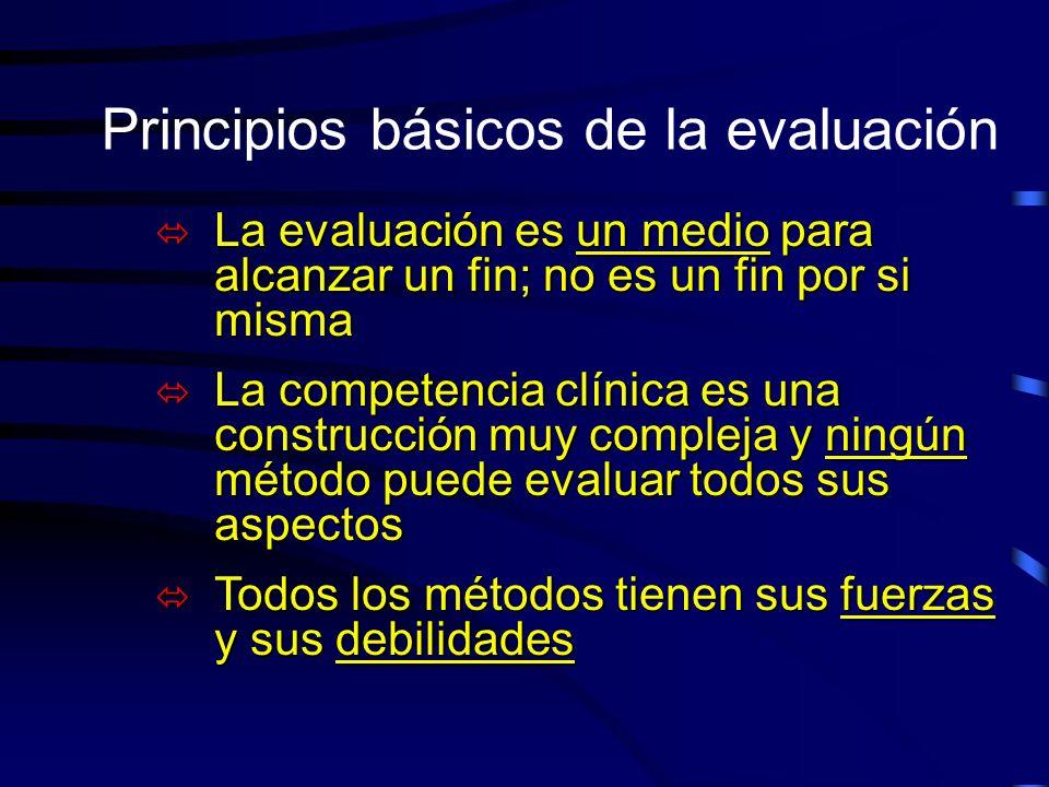 Principios básicos de la evaluación ó La evaluación es un medio para alcanzar un fin; no es un fin por si misma ó La competencia clínica es una constr