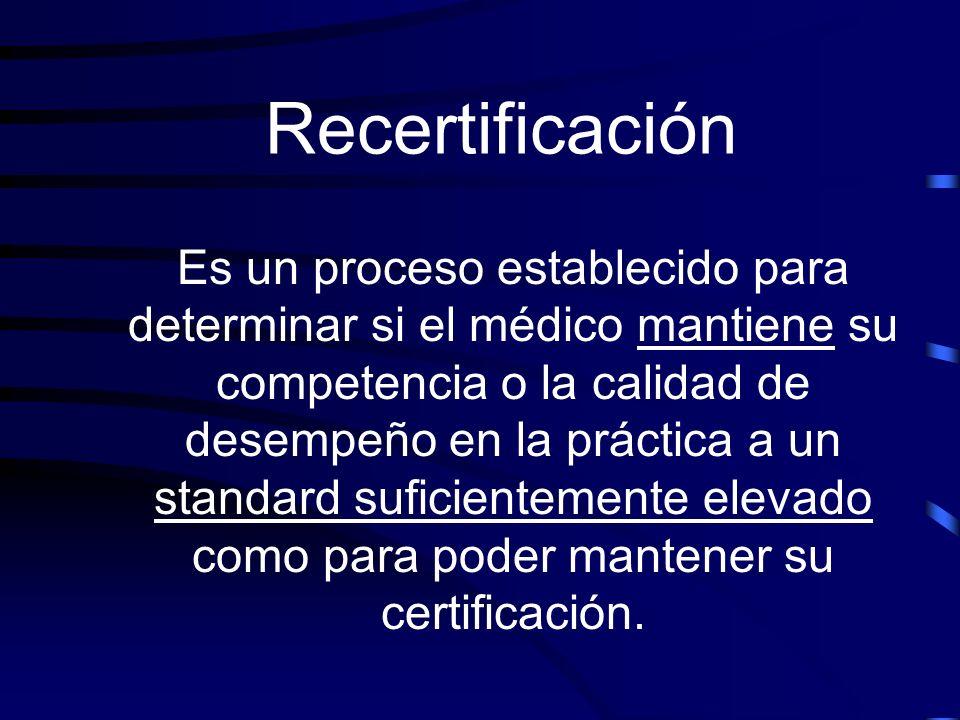 Recertificación Es un proceso establecido para determinar si el médico mantiene su competencia o la calidad de desempeño en la práctica a un standard