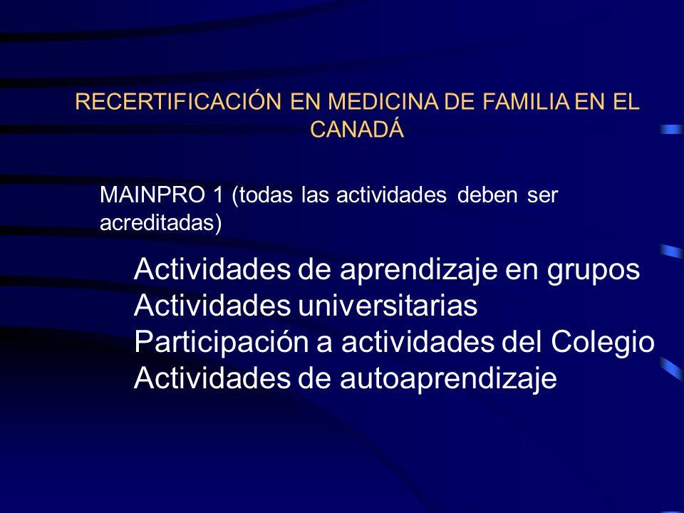 RECERTIFICACIÓN EN MEDICINA DE FAMILIA EN EL CANADÁ MAINPRO 1 (todas las actividades deben ser acreditadas) Actividades de aprendizaje en grupos Activ