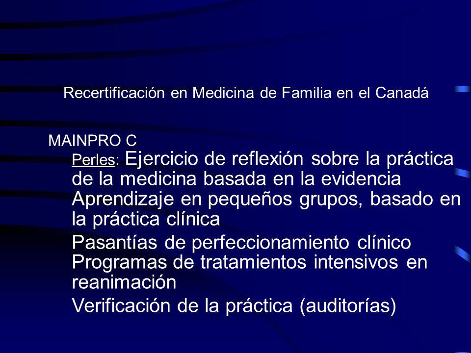 Recertificación en Medicina de Familia en el Canadá MAINPRO C Perles: Ejercicio de reflexión sobre la práctica de la medicina basada en la evidencia A