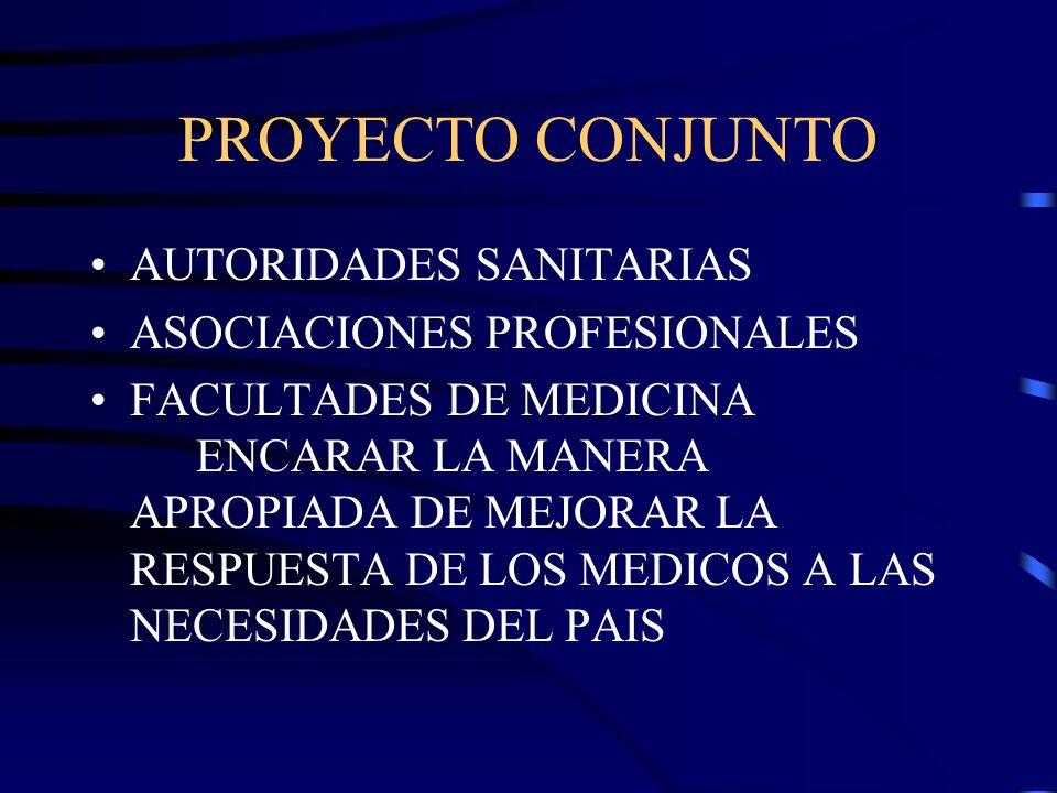 PROYECTO CONJUNTO AUTORIDADES SANITARIAS ASOCIACIONES PROFESIONALES FACULTADES DE MEDICINA ENCARAR LA MANERA APROPIADA DE MEJORAR LA RESPUESTA DE LOS