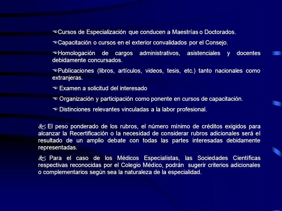 ECursos de Especialización que conducen a Maestrías o Doctorados. ECapacitación o cursos en el exterior convalidados por el Consejo. EHomologación de