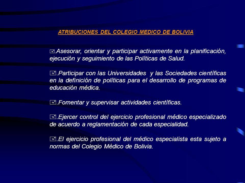 ATRIBUCIONES DEL COLEGIO MEDICO DE BOLIVIA +. Asesorar, orientar y participar activamente en la planificación, ejecución y seguimiento de las Política