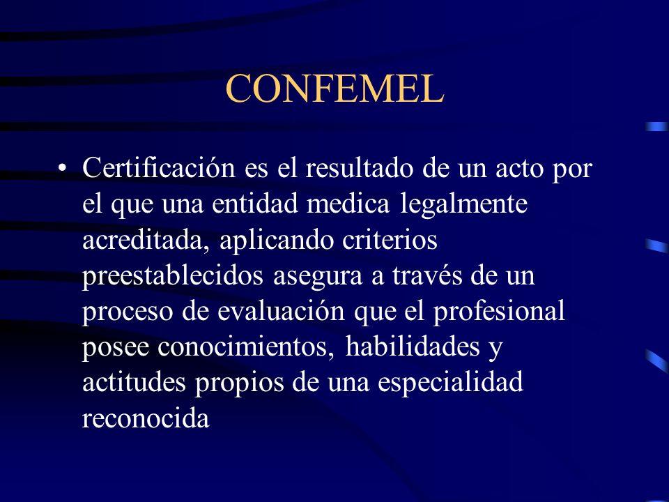 CONFEMEL Certificación es el resultado de un acto por el que una entidad medica legalmente acreditada, aplicando criterios preestablecidos asegura a t