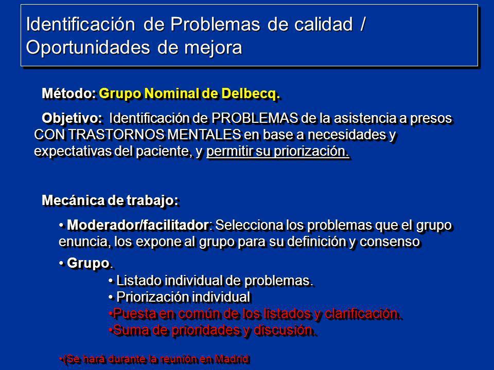 Identificación de Problemas de calidad / Oportunidades de mejora Método: Grupo Nominal de Delbecq. Método: Grupo Nominal de Delbecq. Objetivo: Identif