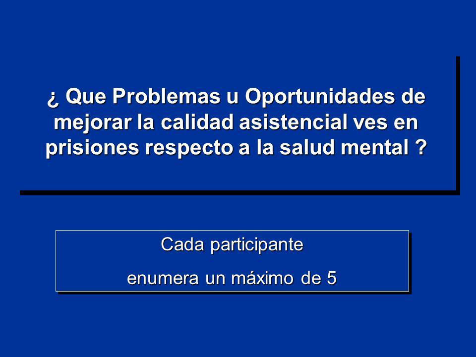 ¿ Que Problemas u Oportunidades de mejorar la calidad asistencial ves en prisiones respecto a la salud mental ? Cada participante enumera un máximo de