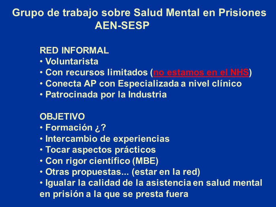 Grupo de trabajo sobre Salud Mental en Prisiones AEN-SESP RED INFORMAL Voluntarista Con recursos limitados (no estamos en el NHS)no estamos en el NHS
