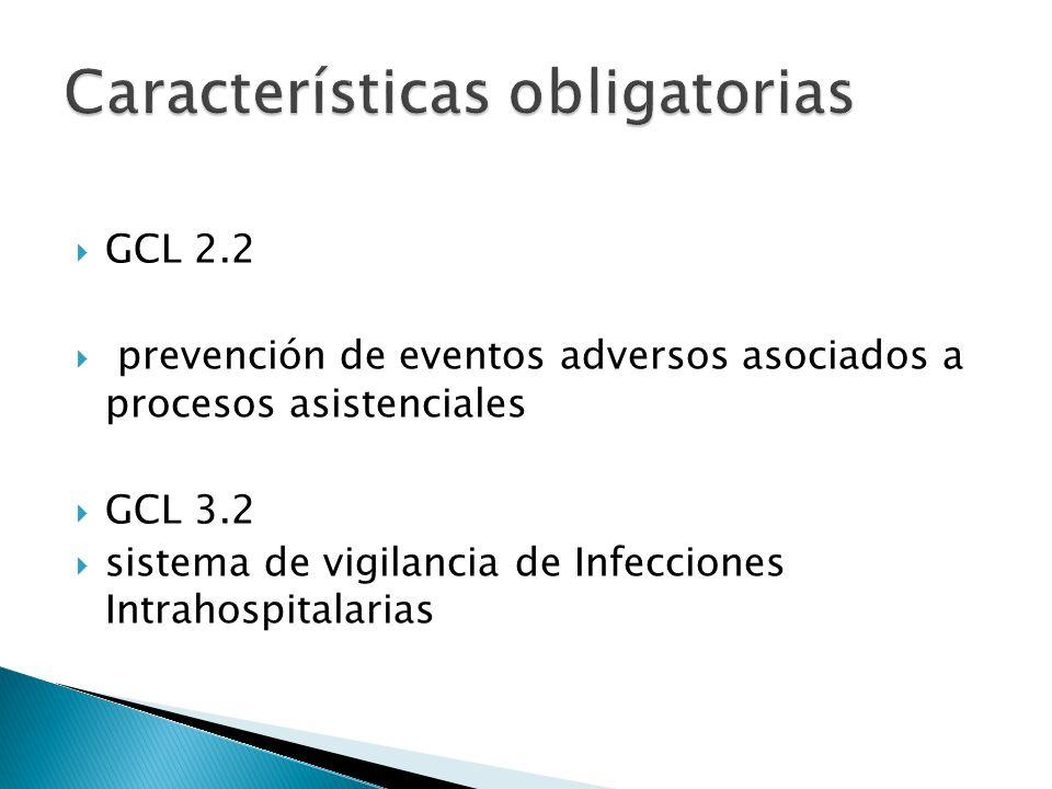 GCL 2.2 prevención de eventos adversos asociados a procesos asistenciales GCL 3.2 sistema de vigilancia de Infecciones Intrahospitalarias