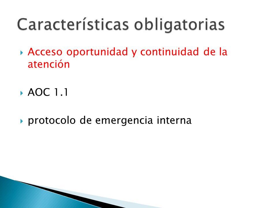Acceso oportunidad y continuidad de la atención AOC 1.1 protocolo de emergencia interna