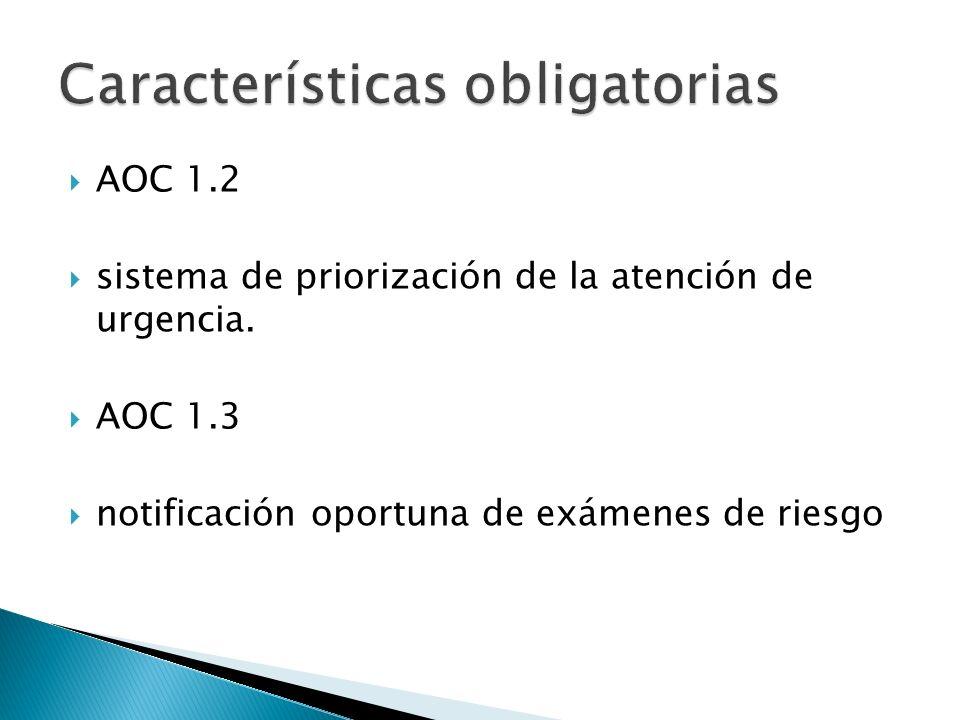 AOC 1.2 sistema de priorización de la atención de urgencia. AOC 1.3 notificación oportuna de exámenes de riesgo