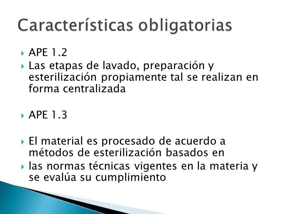APE 1.2 Las etapas de lavado, preparación y esterilización propiamente tal se realizan en forma centralizada APE 1.3 El material es procesado de acuerdo a métodos de esterilización basados en las normas técnicas vigentes en la materia y se evalúa su cumplimiento