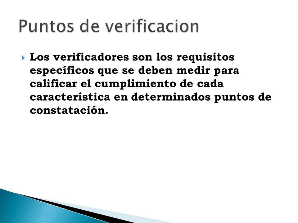Los verificadores son los requisitos específicos que se deben medir para calificar el cumplimiento de cada característica en determinados puntos de constatación.