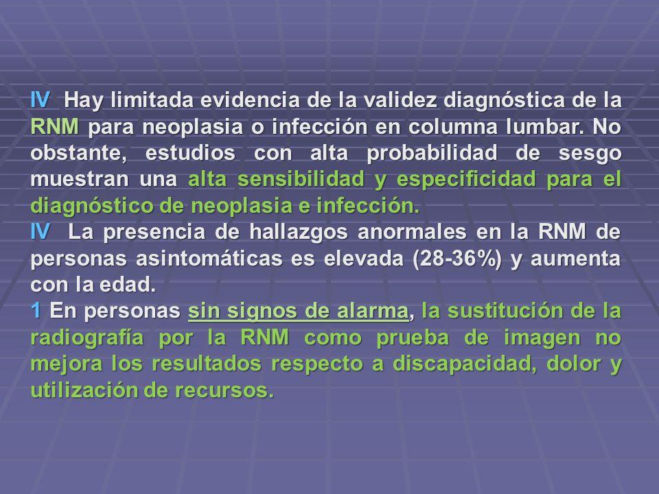 IV Hay limitada evidencia de la validez diagnóstica de la RNM para neoplasia o infección en columna lumbar. No obstante, estudios con alta probabilida