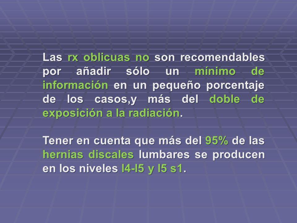 Las rx oblicuas no son recomendables por añadir sólo un mínimo de información en un pequeño porcentaje de los casos,y más del doble de exposición a la