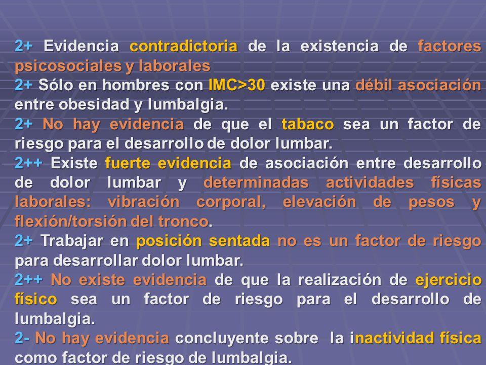 2+ Evidencia contradictoria de la existencia de factores psicosociales y laborales 2+ Sólo en hombres con IMC>30 existe una débil asociación entre obe