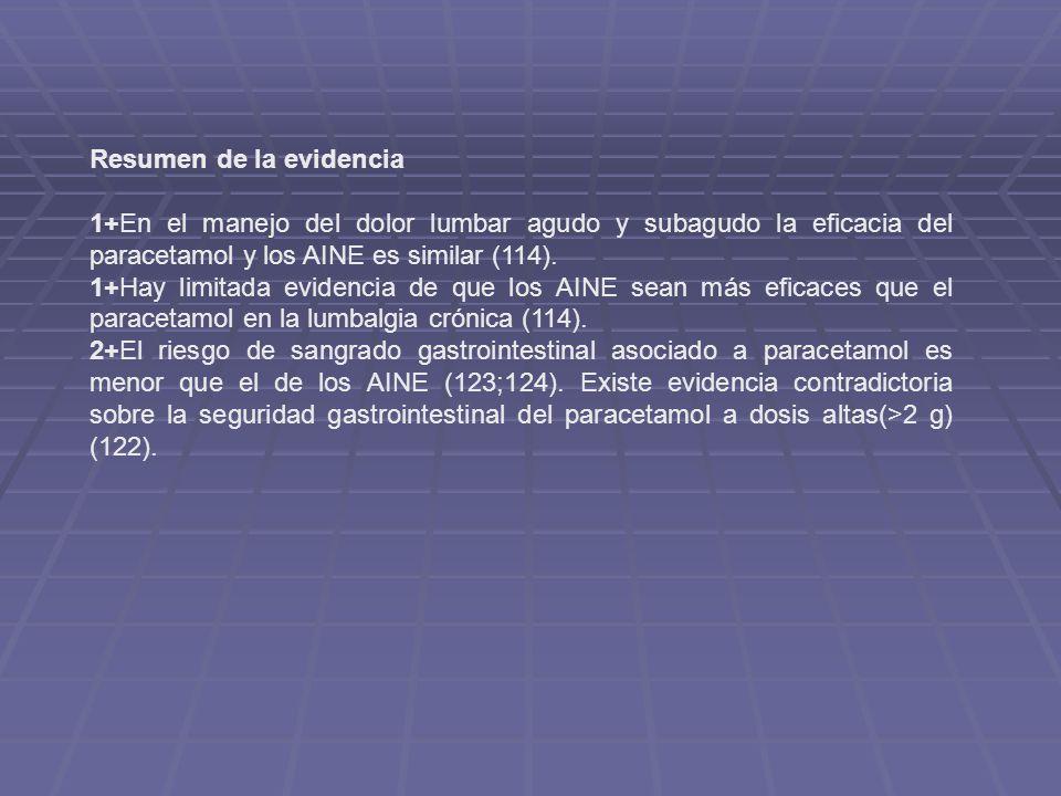 Resumen de la evidencia 1+En el manejo del dolor lumbar agudo y subagudo la eficacia del paracetamol y los AINE es similar (114). 1+Hay limitada evide
