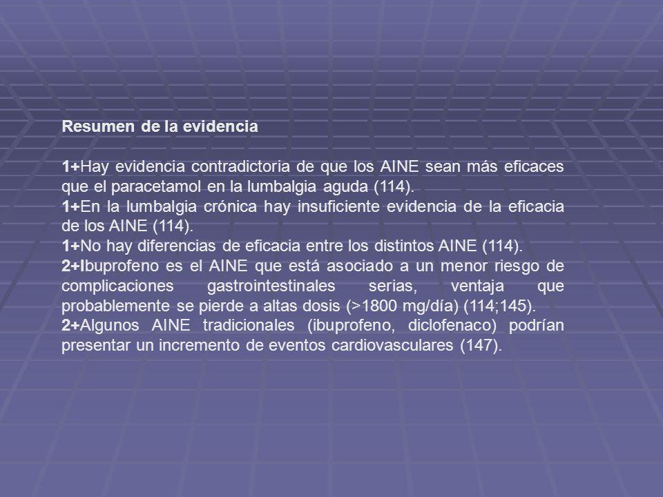 Resumen de la evidencia 1+Hay evidencia contradictoria de que los AINE sean más eficaces que el paracetamol en la lumbalgia aguda (114). 1+En la lumba