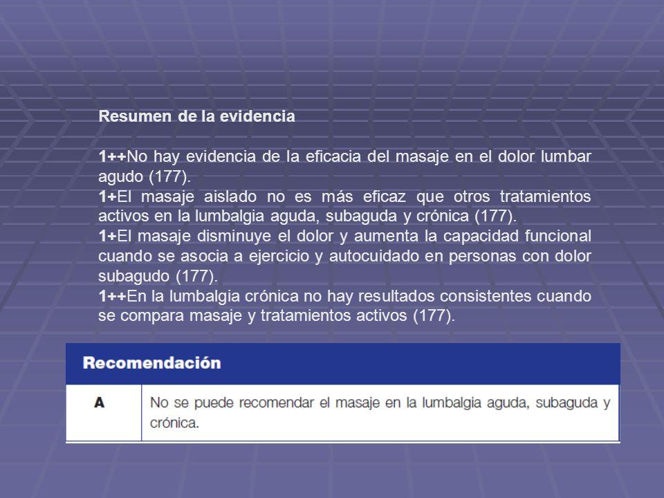 Resumen de la evidencia 1++No hay evidencia de la eficacia del masaje en el dolor lumbar agudo (177). 1+El masaje aislado no es más eficaz que otros t