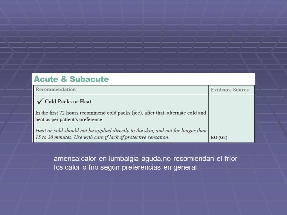 america:calor en lumbalgia aguda,no recomiendan el fríor Ics calor o frio según preferencias en general