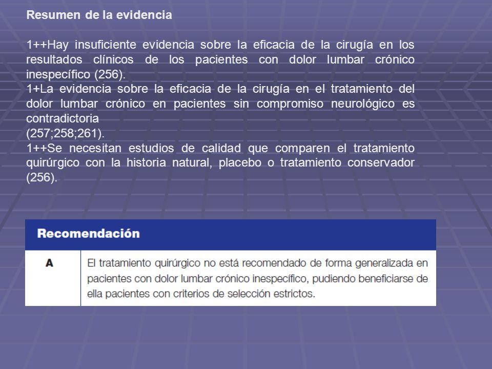 Resumen de la evidencia 1++Hay insuficiente evidencia sobre la eficacia de la cirugía en los resultados clínicos de los pacientes con dolor lumbar cró