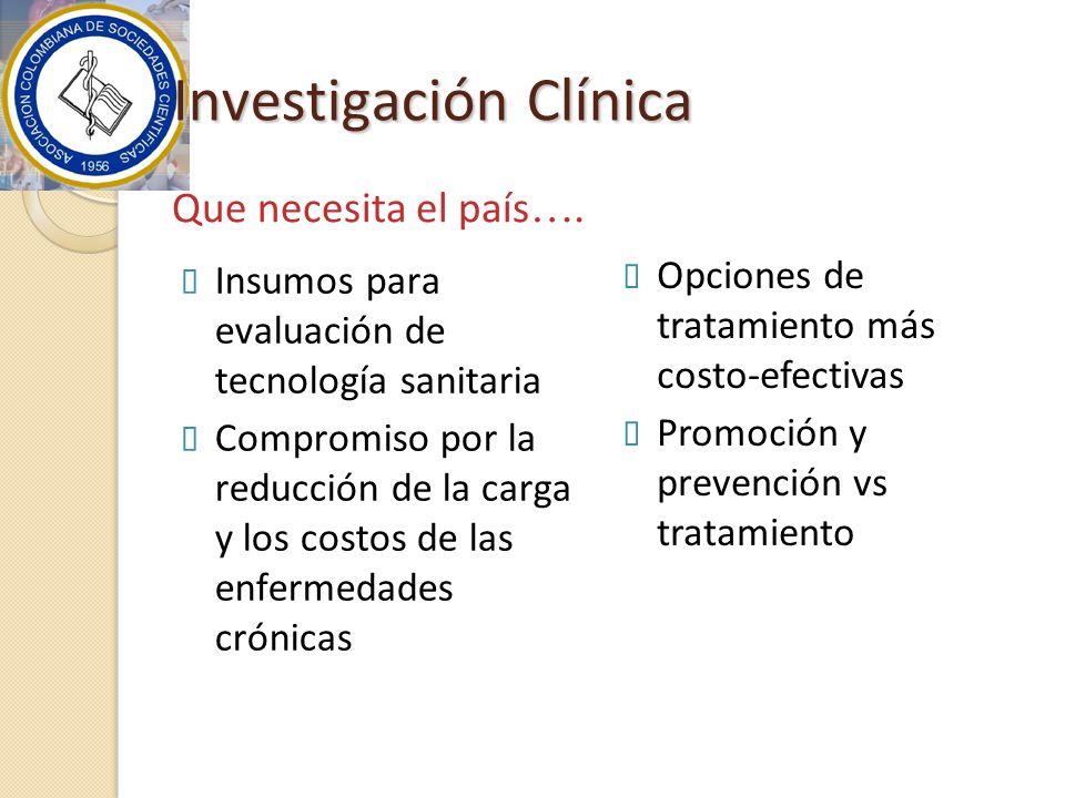 Investigación Clínica Insumos para evaluación de tecnología sanitaria Compromiso por la reducción de la carga y los costos de las enfermedades crónica