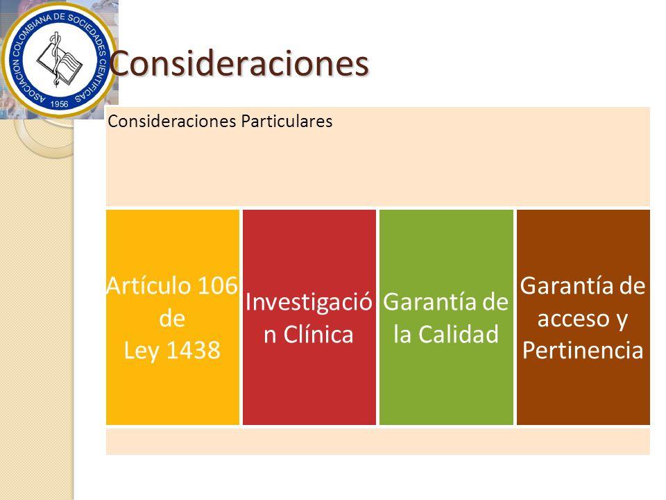 Consideraciones Consideraciones Particulares Artículo 106 de Ley 1438 Investigació n Clínica Garantía de la Calidad Garantía de acceso y Pertinencia