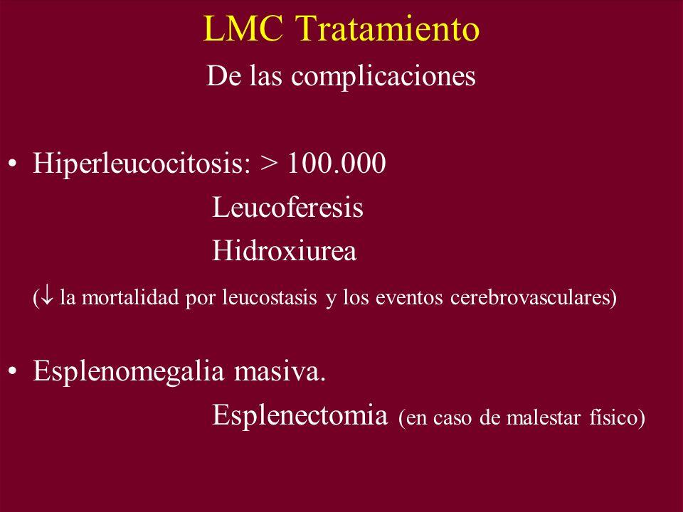LMC Tratamiento De las complicaciones Hiperleucocitosis: > 100.000 Leucoferesis Hidroxiurea ( la mortalidad por leucostasis y los eventos cerebrovasculares) Esplenomegalia masiva.