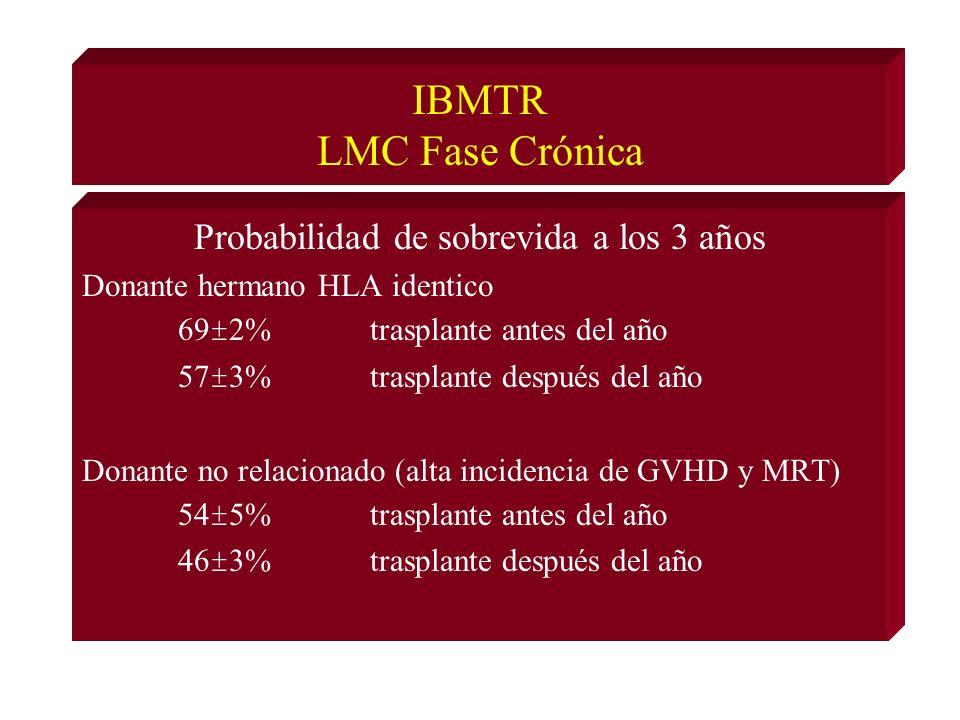 IBMTR LMC Fase Crónica Probabilidad de sobrevida a los 3 años Donante hermano HLA identico 69±2%trasplante antes del año 57±3%trasplante después del año Donante no relacionado (alta incidencia de GVHD y MRT) 54±5%trasplante antes del año 46±3%trasplante después del año