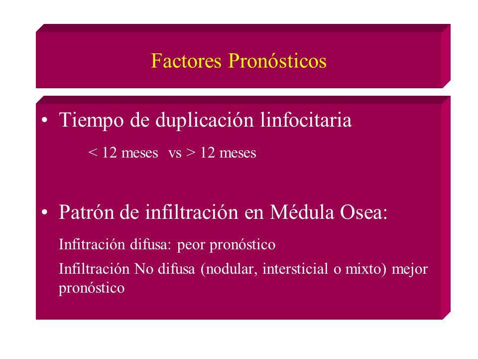 Factores Pronósticos Tiempo de duplicación linfocitaria 12 meses Patrón de infiltración en Médula Osea: Infitración difusa: peor pronóstico Infiltración No difusa (nodular, intersticial o mixto) mejor pronóstico