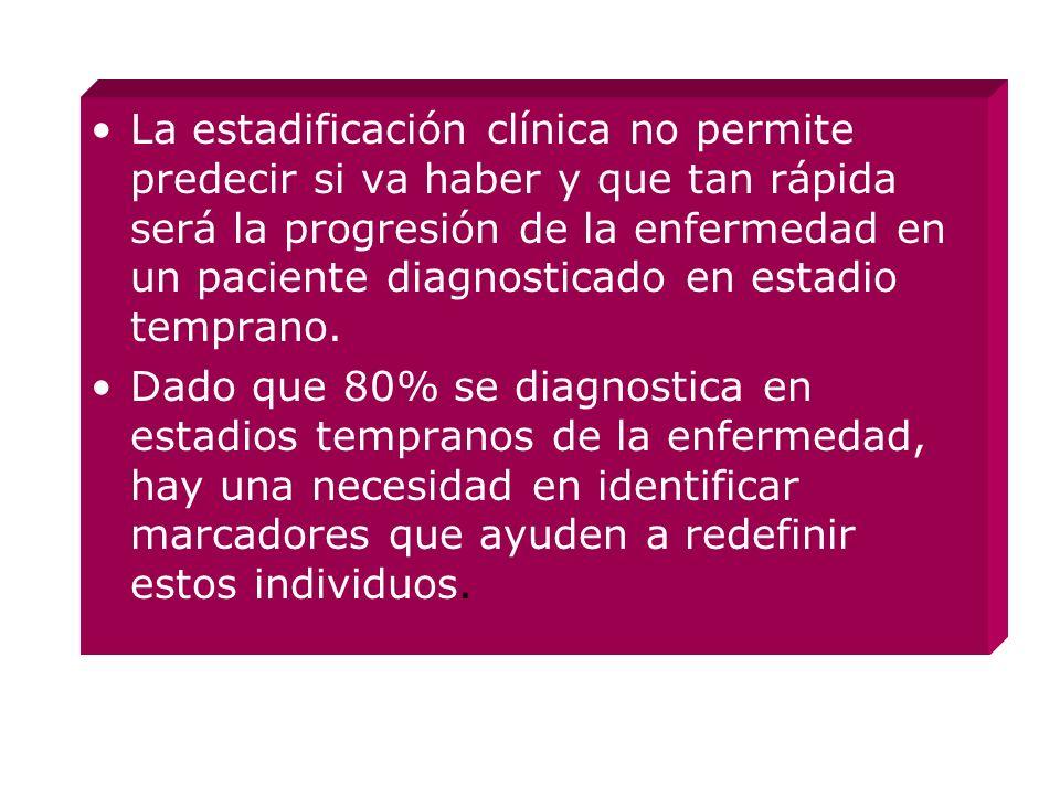 La estadificación clínica no permite predecir si va haber y que tan rápida será la progresión de la enfermedad en un paciente diagnosticado en estadio temprano.