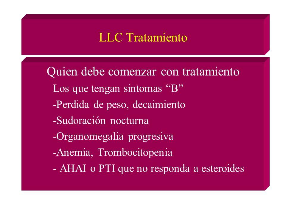 LLC Tratamiento Quien debe comenzar con tratamiento Los que tengan sintomas B -Perdida de peso, decaimiento -Sudoración nocturna -Organomegalia progresiva -Anemia, Trombocitopenia - AHAI o PTI que no responda a esteroides