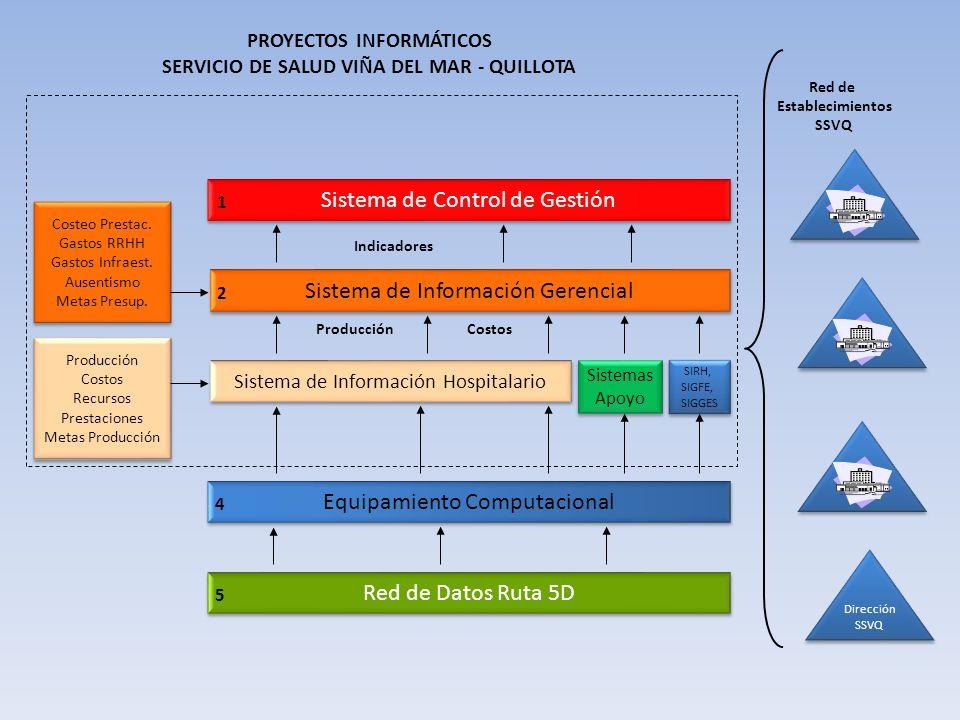 Dirección SSVQ Dirección SSVQ Red de Establecimientos SSVQ Producción Costos Recursos Prestaciones Metas Producción Producción Costos Recursos Prestac