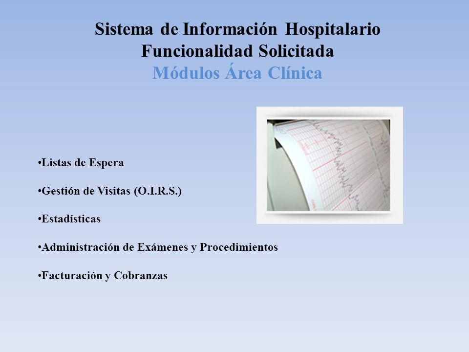 Sistema de Información Hospitalario Funcionalidad Solicitada Módulos Área Clínica Listas de Espera Gestión de Visitas (O.I.R.S.) Estadísticas Administ