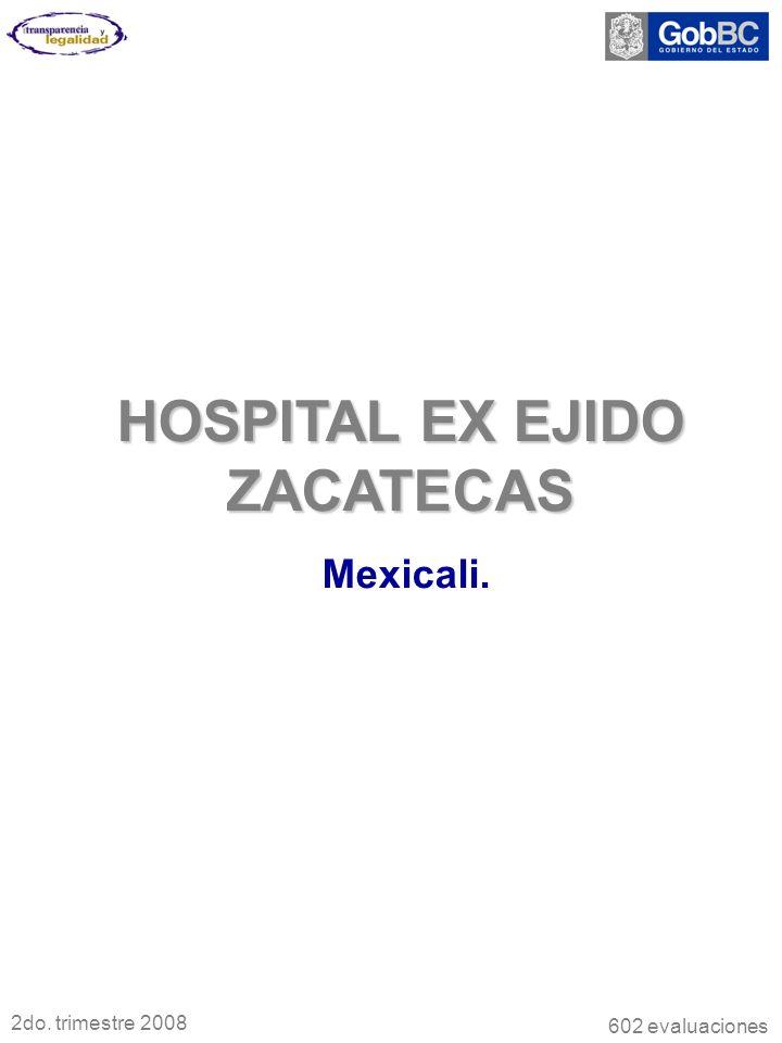 HOSPITAL EX EJIDO ZACATECAS Mexicali. 2do. trimestre 2008 602 evaluaciones