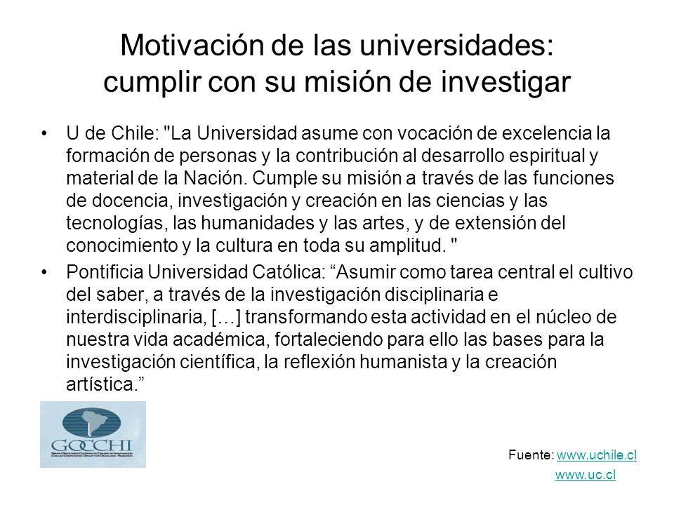 Motivación de las universidades: cumplir con su misión de investigar U de Chile: La Universidad asume con vocación de excelencia la formación de personas y la contribución al desarrollo espiritual y material de la Nación.