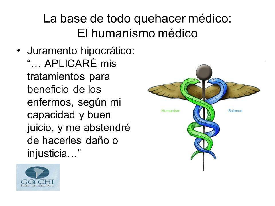 La base de todo quehacer médico: El humanismo médico Juramento hipocrático: … APLICARÉ mis tratamientos para beneficio de los enfermos, según mi capacidad y buen juicio, y me abstendré de hacerles daño o injusticia…